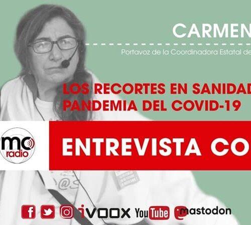 Entrevista a Carmen Esbrí, portavoz de la Mesa en Defensa de la Sanidad Pública, Marea Blanca